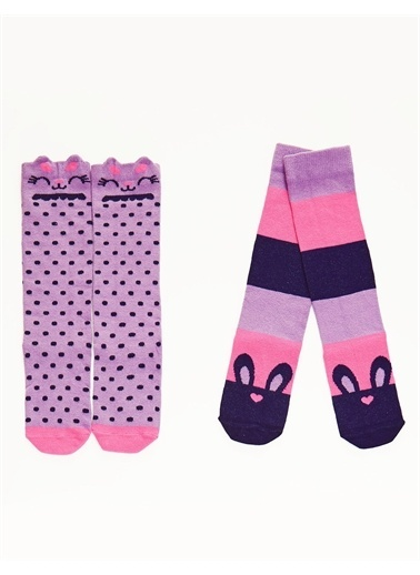 Denokids Tavşanlar Kız Dizaltı Çorap Pembe